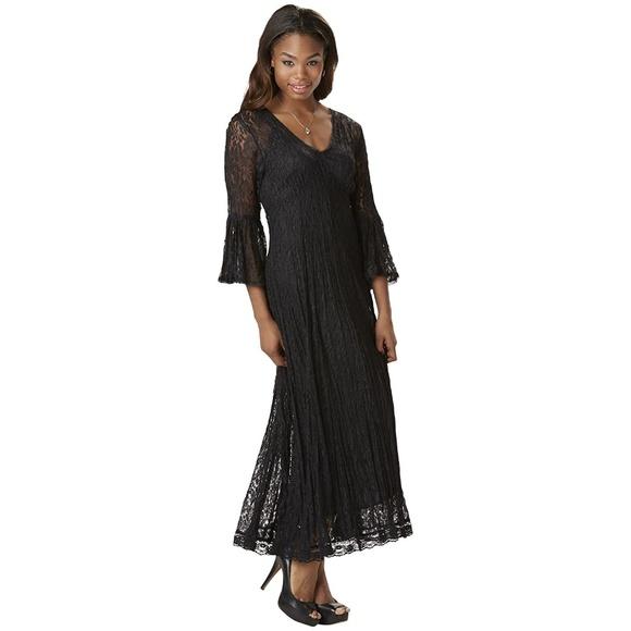 dcab05d1b6 Plus Crinkle Lace Dress Poet Sleeves Empire Waist